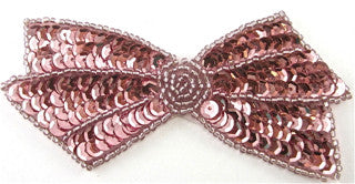 "Bow with Pink Sequins and Beads 4"" x 2"""