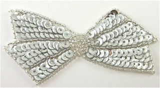 "Bow with Silver Sequins and Beads 4"" x 2"""