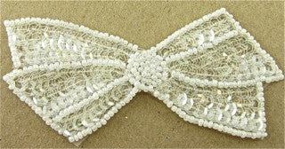 "Bow with Iridescent Sequins and White Beads 4"" x 2"""