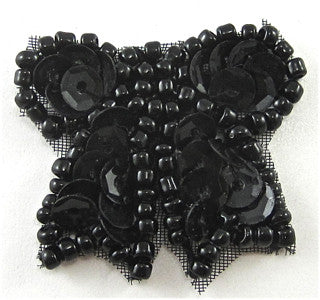 Bow with Black Sequinsa and Beads 1""