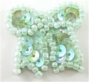 Bow with Mint Green Sequins and Beads 1""