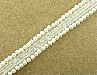Trim Five Rows White Beads 1/2