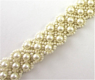 "Trim with Beige Creamy Beads 7/8"" Remnant"
