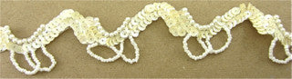 Trim with Beige Sequins and Looped Beads 1""