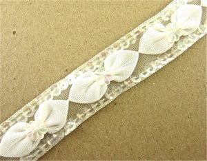 "Trim with Cotton Bows Topped with Iridescent Flowers, Iridescent Sequins Edges 1"" Wide Sold by the Yard"