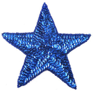 10 PACK Star Royal Blue Sequins 4""