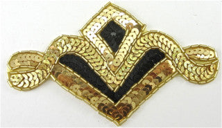 "Designer Motif with Gold and Black, 5"" x 3"""