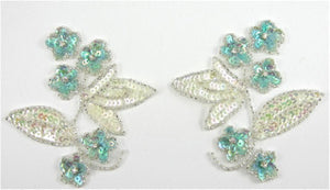 "Flower Pair with Iridescent and Turqoise Sequins, Silver Beads and Rhinestones  4"" x 4 and"
