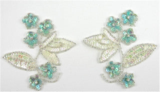 Flower Pair with Iridescent and Turqoise Sequins, Silver Beads and Rhinestones  4