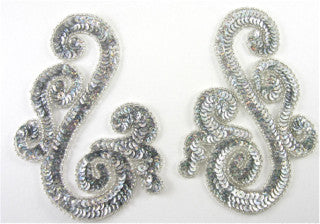 "Designer Motif Swirl with Silver Sequins and Beads  7.5""X 3"""