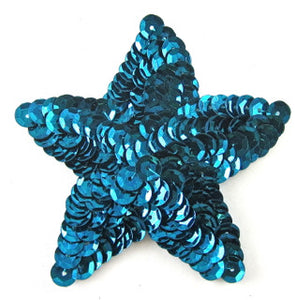 Star, turquoise, all sequin, 2.5""