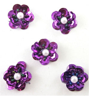 Flower set of  Purple with White Pearl in Center 1""