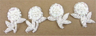 Flower set of Four White Iridescent