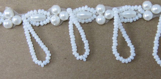 Trim with White Pearl Beads and Looped Pearl Fringe 1""