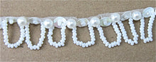"Load image into Gallery viewer, Trim with Loop China White Sequins and White Beads 1/2"" Wide, Sold by the Yard"