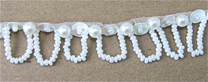 "Trim with Loop China White Sequins and White Beads 1/2"" Wide, Sold by the Yard"