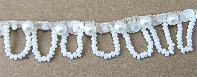 Trim with Loop China White Sequins and White Beads 1/2