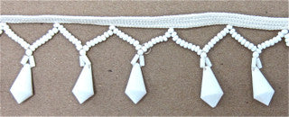 Trim with White Beaded Fringe  1.5""