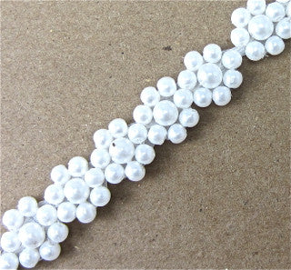 "Trim with Tiny White Pearl Flowers 1/2"" Wide"