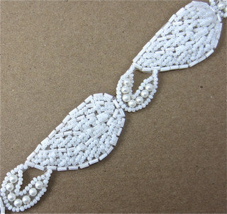 Trim by the Yard with White Beads 1""
