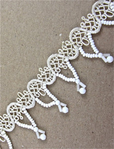 Trim by the Yard with White Beaded Fringe attached by Cotton Design  1.25""