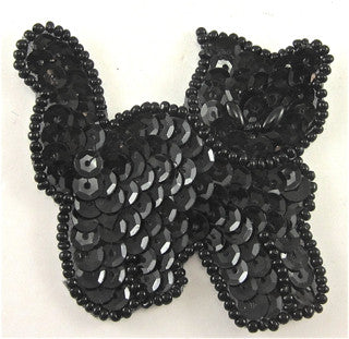 "Cat Black Sequins and Beads  2.5"" X 2.25"""