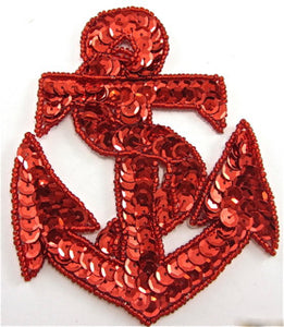 "Anchor with Red Sequins and Beads 4.5"" x 3.5"" - Sequinappliques.com"