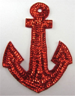"Anchor with Red Sequins 7.5"" x 5.5"" - Sequinappliques.com"