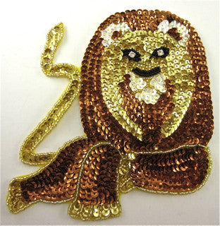 "Lion with Bronze and Gold Sequins Rhinestones 6"" x 5"""