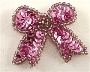 "Bow with Pink Sequins and Beads 1.5"" X  1.5"""