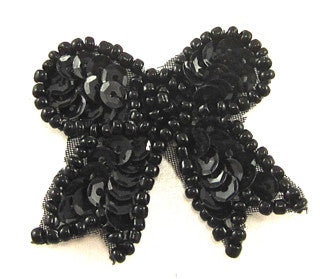 "Bow with Black Sequins and Beads 1.5"" x 1.5"""