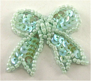 "Bow Mint Green Sequins and Beads 1.5"" x 1.5"""
