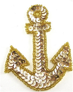 "Anchor Gold Sequins and Beads 5"" x 3.5"" - Sequinappliques.com"
