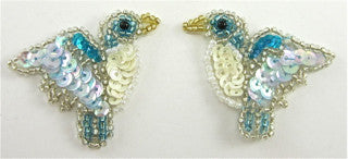 "Bird Pair with Turquoise and White and Blue Sequins and Beads 1.5"" x 2"""