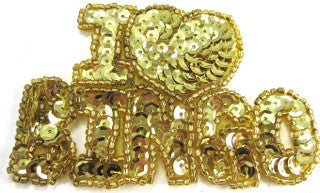 "I Love Bingo with Gold Sequins and Beads 2"" x 3.5"""