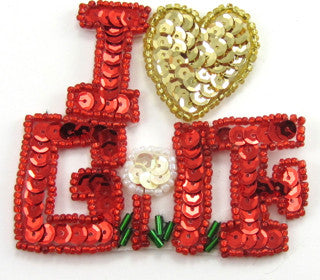 "I Love Golf Small Red/Gold Sequins 2.5"" x 3"""