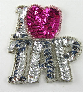 "I Love Tap  Silver Sequins with Beads Large 2""X 2"""
