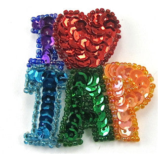 "I Love Tap Multi-Colored Sequins and Beads 2"" x 2"""
