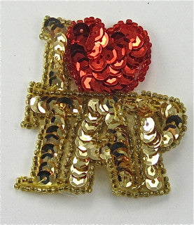 "I Love Tap Gold and Red Sequins and Beads 3"" x 3"""