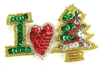 "I Love (heart) Xmas (tree) 3"" x 2"""