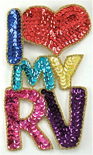 "I Love my RV Sequin Applique 6.5"" X 4"""