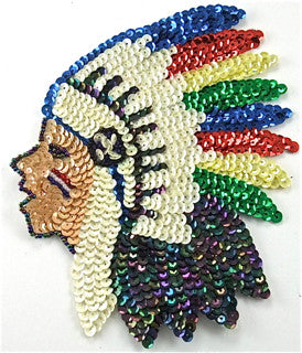"Native American Chief with Multi-Colored Sequins and Beads  6.5"" x 5"""