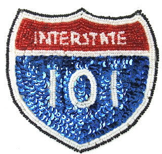 "Road Sign Interstate 101 Sequin Beaded,  4"" x 4.5"""