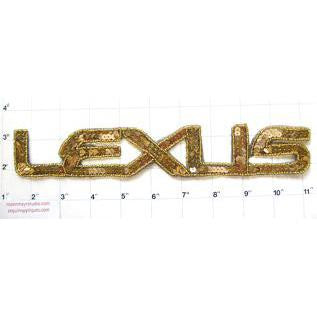 """Lexus"" with Gold Sequins and Beads 11"" x 2"" - Sequinappliques.com"