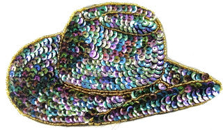 "Cowboy Hat with Moonlite Sequins and Gold Beads 4.5"" x 7.5"""