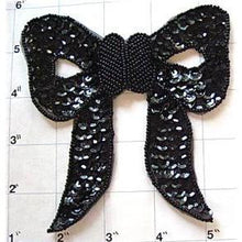 "Load image into Gallery viewer, Bow Black Sequin with Beaded Center 4.5"" x 4.5"""