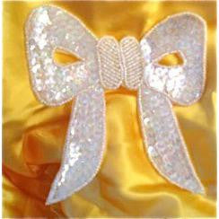 "Bow with Iridescent Sequins and Beads 4.5"" x 4.5"""