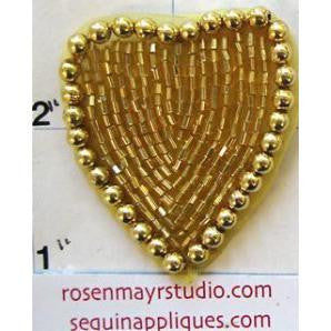 Heart Gold Beaded Pearled 1.5""