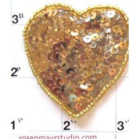 Heart with Gold Flat Sequins  and Beads, 2""