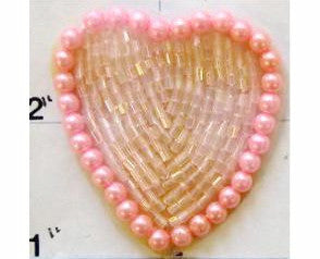 Heart Pink with Pink Pearl Trim, 1.5""